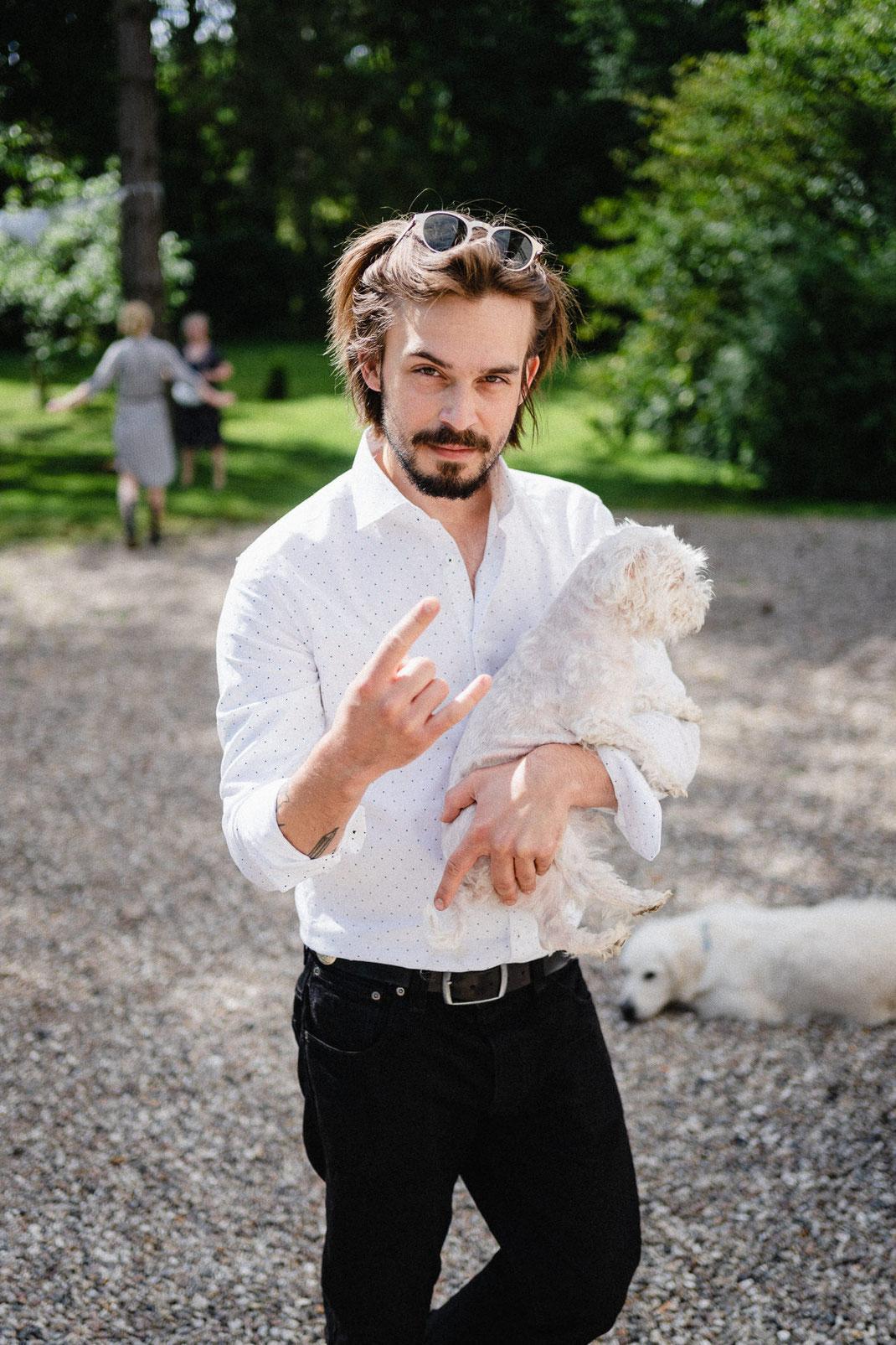Mann Hund Cool Hochzeit