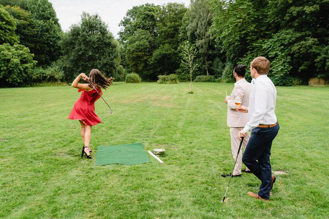 Golf Frau Kleid Hochzeit rot