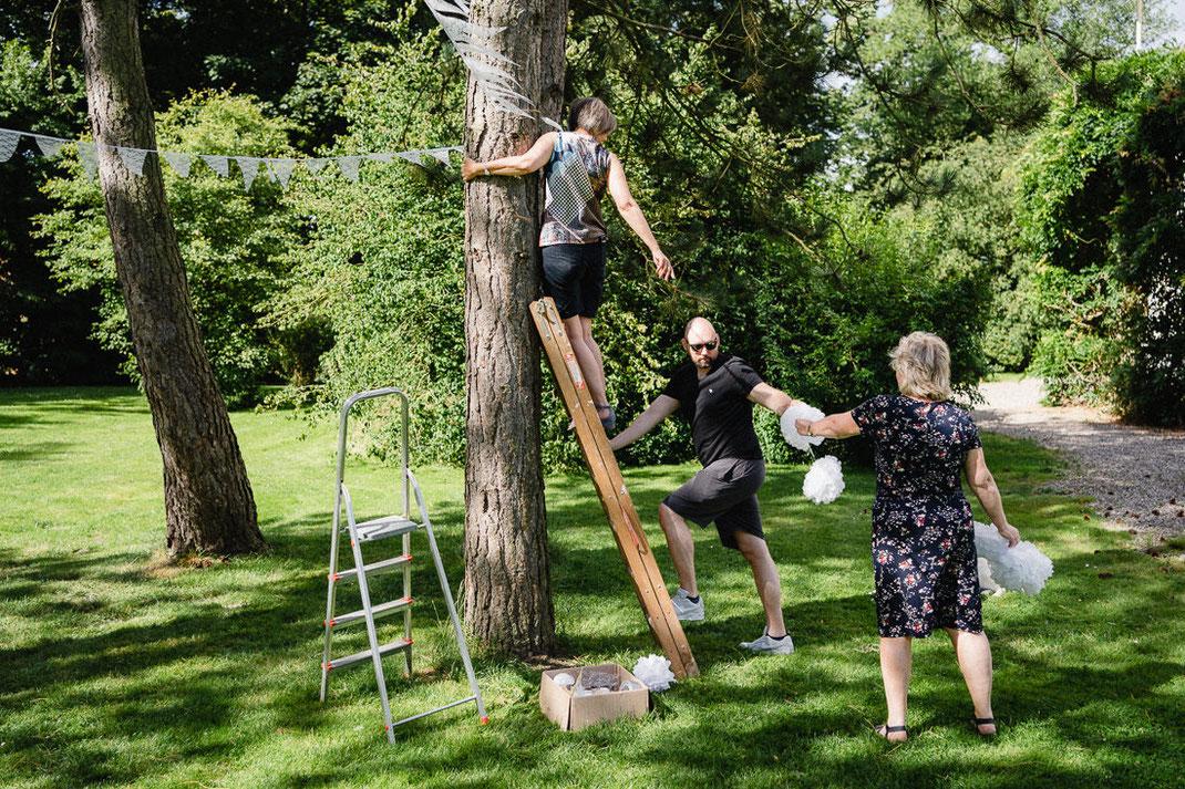 Vorbereitungen Hochzeit Baum Leiter