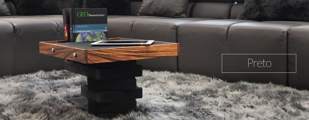 Beistelltisch aus bekohltem Holz, geölt
