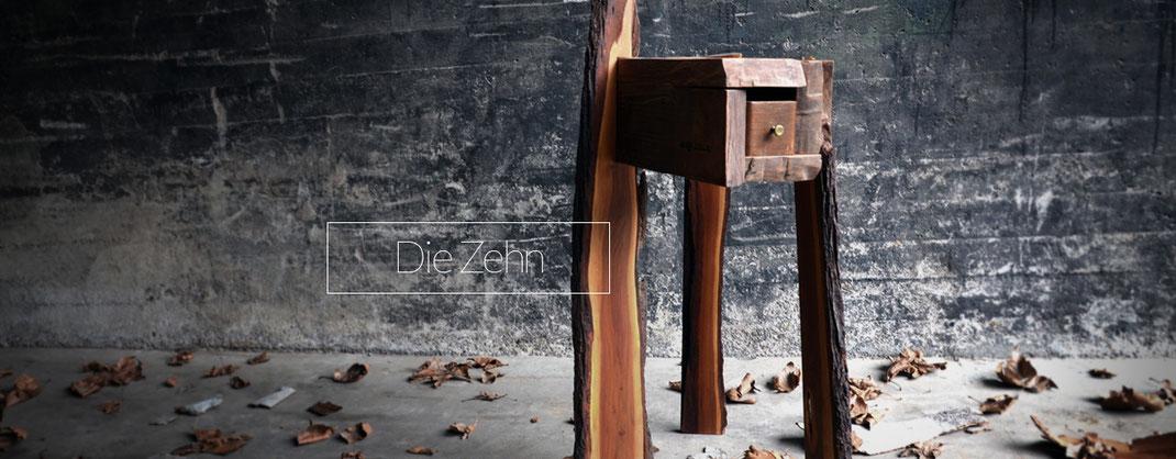 Freistehende Schublade, Einzelstück, Holz