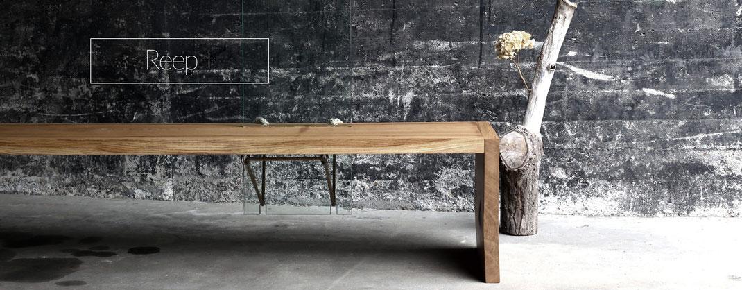 Holzbank mit Lehne aus Glas, Design für moderne Wohnungen