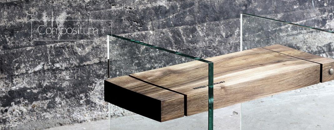 Designer Möbel aus Holz mit Glas als Hocker oder Beistelltisch