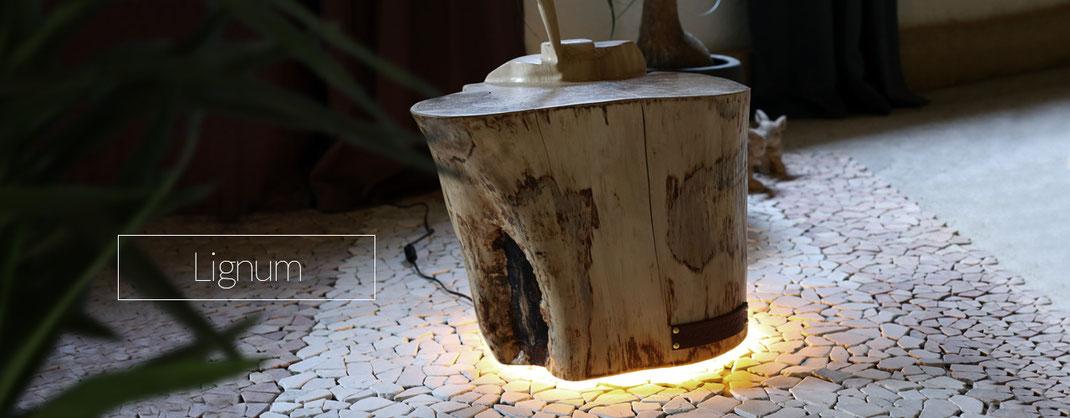 Nachttisch beleuchtet aus Fundholz mit Lampe