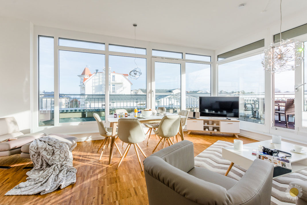 Ferienimmobilie Penthouse in Binz Fotografie Wohnbereich
