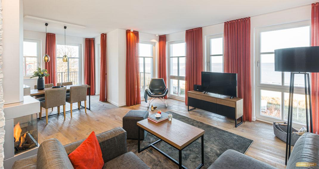 Beachhouse Bansin  Apartment No.19 - Einblick in den Wohn/Essbereich