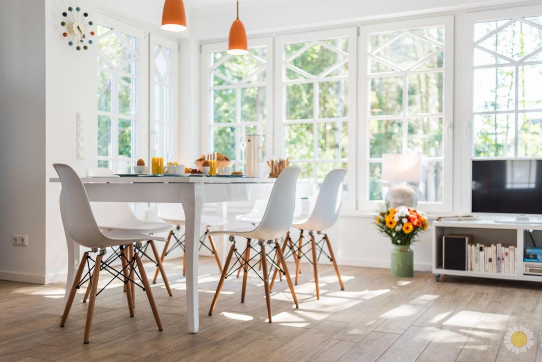 Ferienhaus Born Fischland Darss Wohn-Essbereich mit gedecktem Tisch