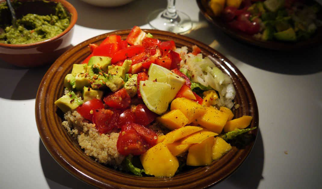 quinoa mango salad vegan bowl avocado recipe