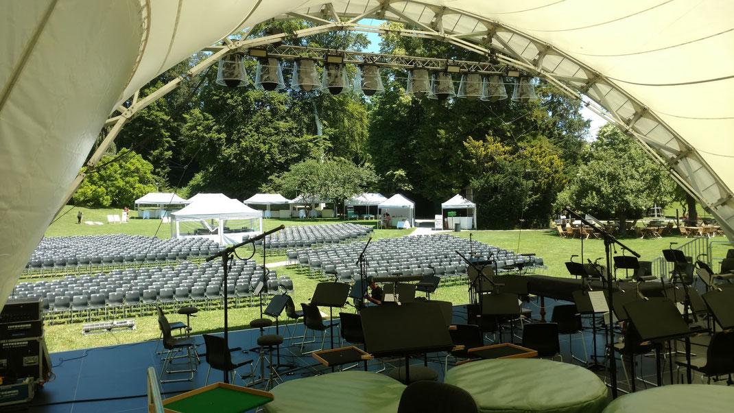 Open Air Bühne, Orchester Konzert, Konzertmuschel mieten