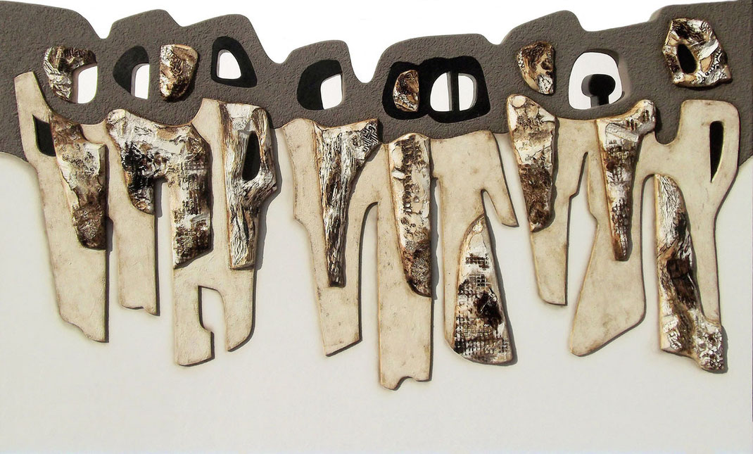 Marina Battistella - Quarto potere - cm 120 x 2000 tecnica mista su polistirene