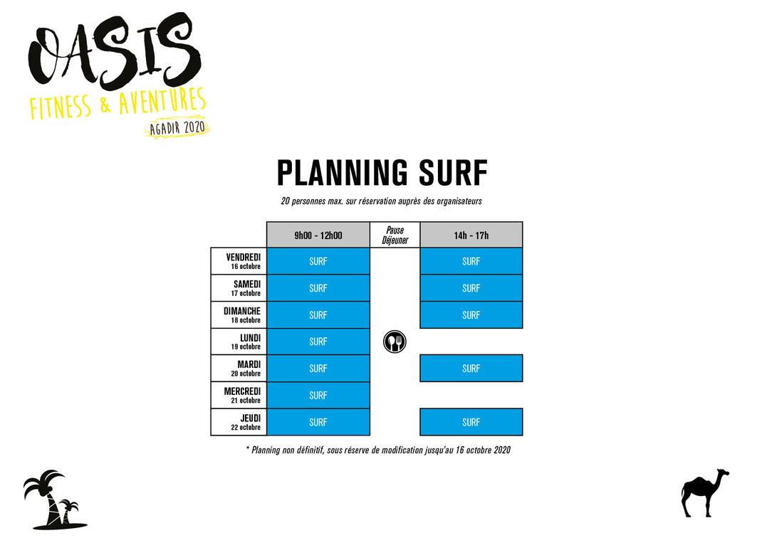 planning surf voyage sportif Oasis Fitness & Aventures Agadir 2020