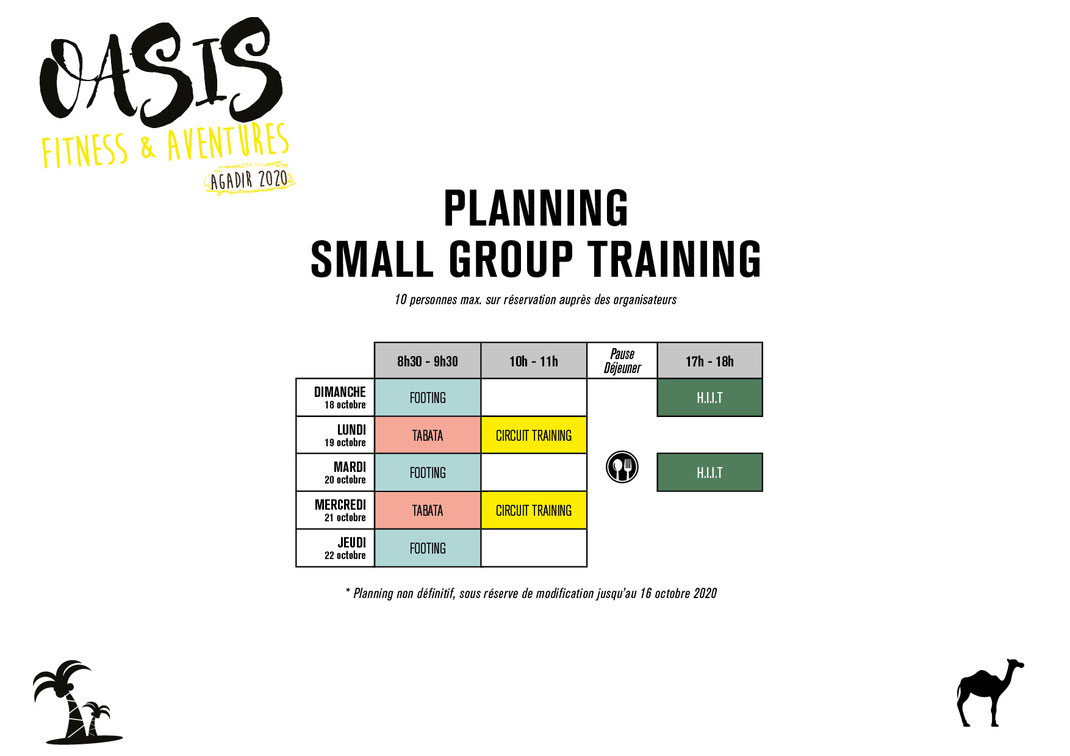 planning small group training voyage sportif Oasis Fitness & Aventures Agadir 2020