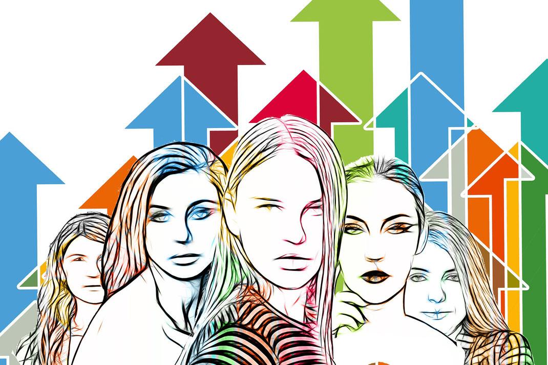 Bild zeigt fünf Frauen als Grafik mit bunten Pfeilen im Hintergrund