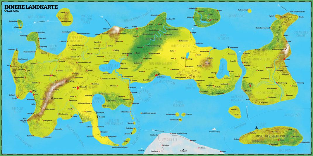 Bild zeigt Landkarte über inneres Erleben. Eine innere Landkarte mit Zonen.