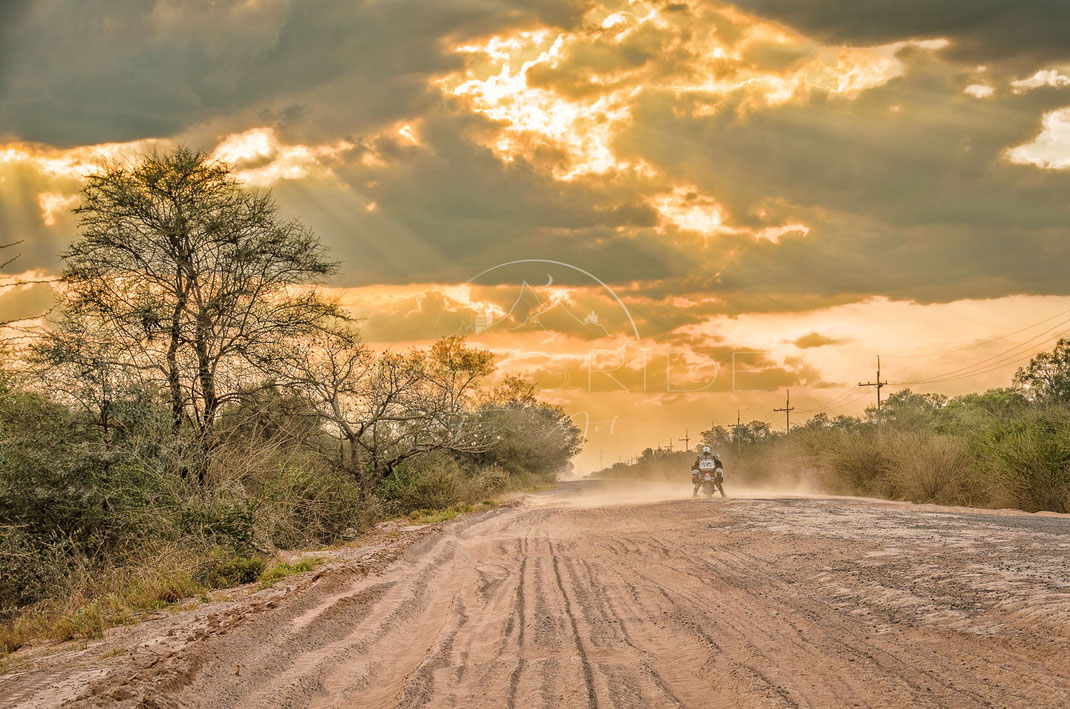 Dusty Highway | Staubiger Highway | Gran Chaco | Paraguay | Motorrad-Abenteuer-Fotografie | Motorcycle ADV Photography | Poster & Leinwände