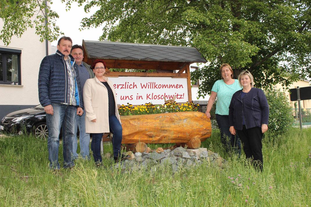 Kloschwitzer Ortschaftsrat 2018: Uwe Roth, Jens Hofmann, Sandra Rödel, Tanja Heinritz, Martina Kober