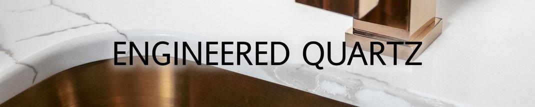Engineered quartz worktops look elegant and are very practical in kitchens