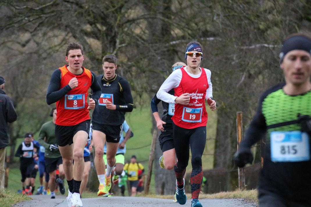René Höchenberger (8), Johannes Zappe (16) und Steffen Wittmann (19) beim Silvesterlauf Kempten - Steffen wird am Ende 10. der Gesamtwertung (Foto: all-in.de / Tobias Hartmann)