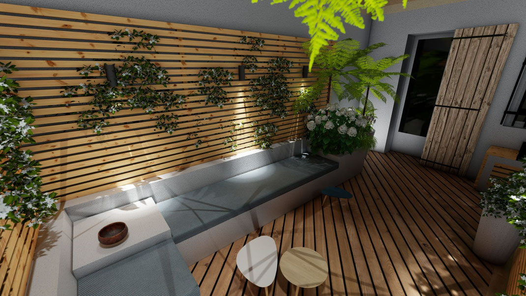 aménagement d'un salon de jardin à Aix en provence