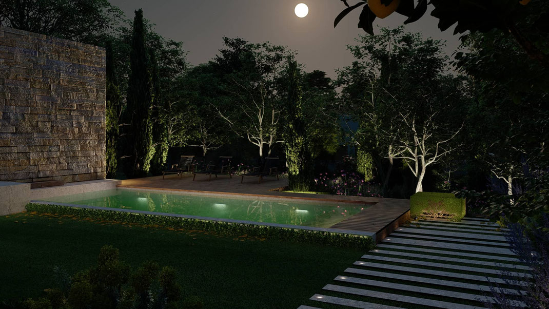 éclairage jardin paysagiste Saint Marc Jaumegarde