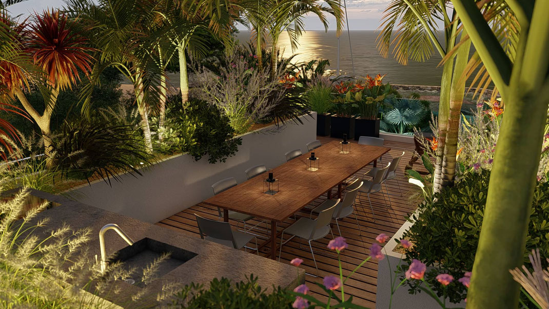 création aménagement terrasse rooftop cap d'antibes architecte paysagiste