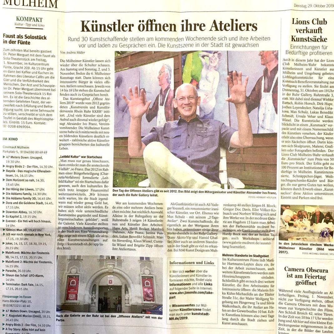 WAZ-Artikel von Andrea Müller mit Fotos von Herbert Höltgen vom 28. Oktober 2019