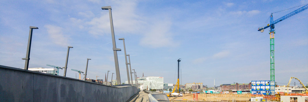 Blick in Richtung Spiegelgebäude, Hamburg Hauptbahnhof und Lohsepark