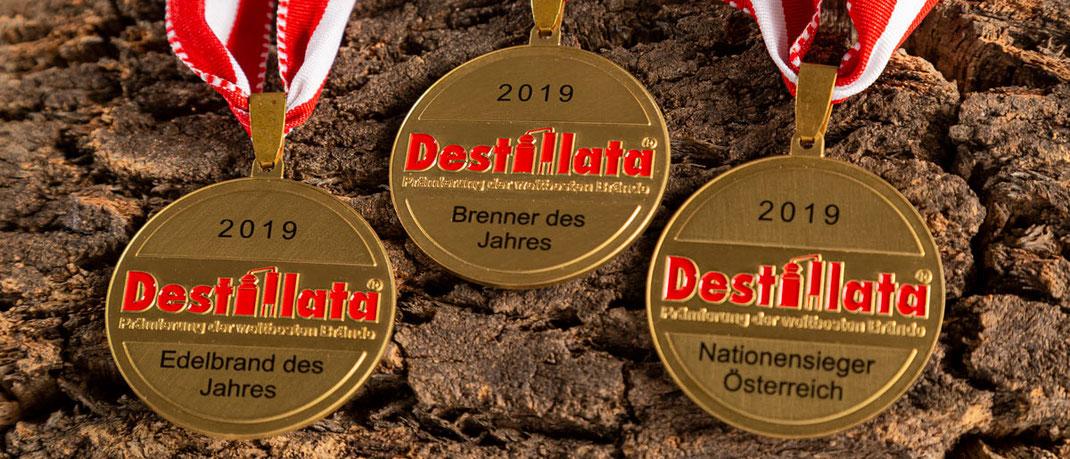 3 Medaillen auf Baumrinde: Edelbrand des Jahres, Brenner des Jahres, Nationensieger Österreich