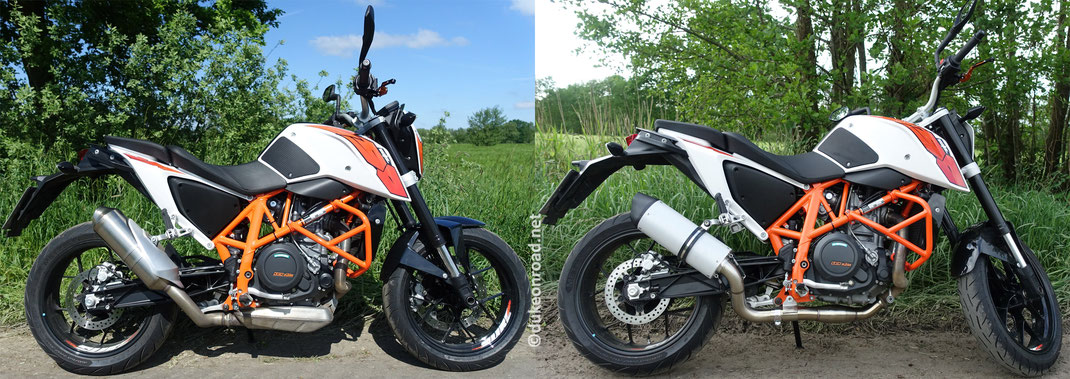 auspuff komplettanlage gpr furore an einer ktm duke 690. Black Bedroom Furniture Sets. Home Design Ideas