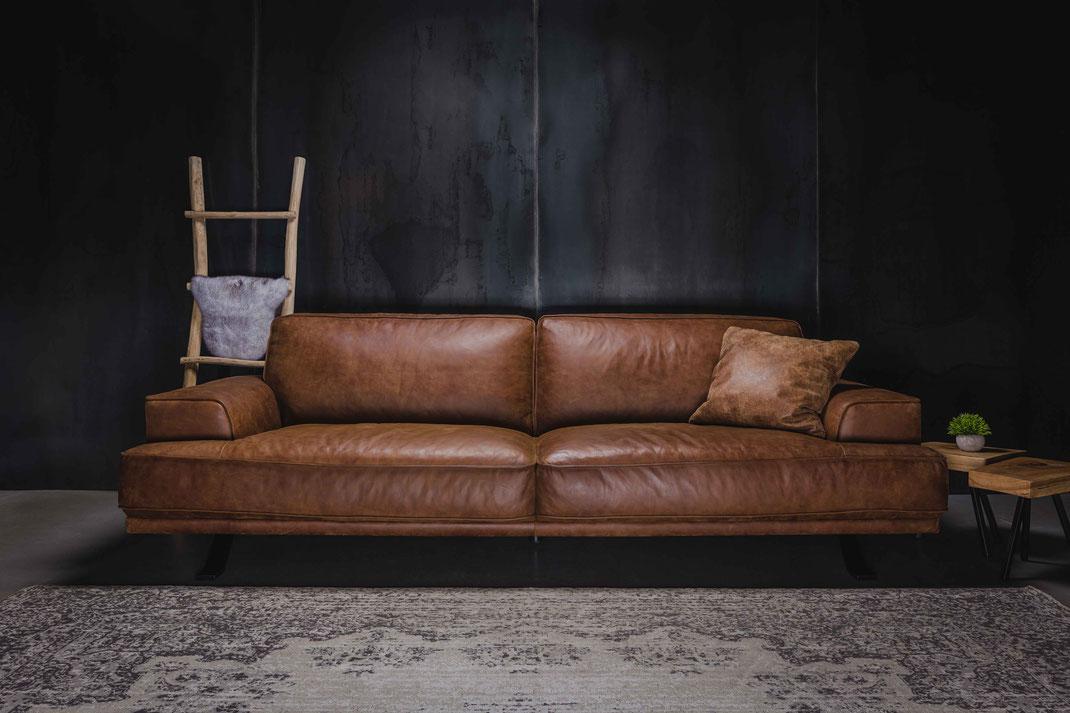 Modernes Relax Sofa in hochwertigem Leder Cognac