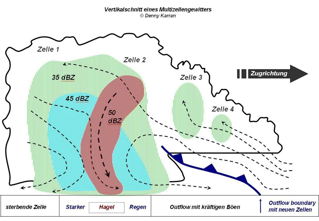Dieser Vertikalschnitt eines Multizellengewitters zeigt die Entwicklung von Gewitterzellen von rechts nach links in einem Gewitterkomplex. Neue Zellen entstehen dabei an der Outflow Boundary. Windscherung führt zu einem getrennten Auf- und Abwindbereich.