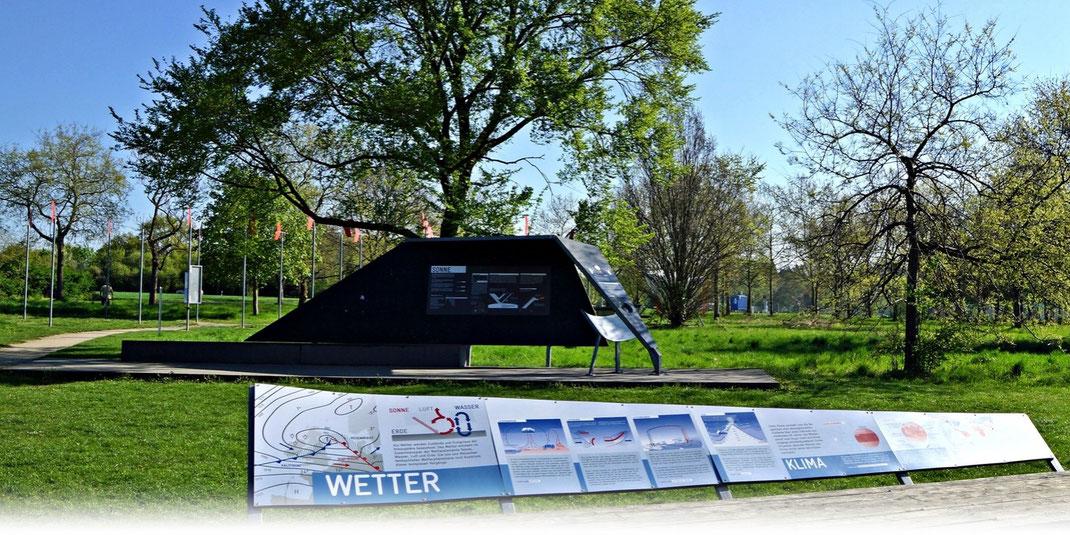 Der Wetterpark in Offenbach am Main vermittelt anhand diverser Exponate meteorologisches Wissen. | Bild: Denny Karran