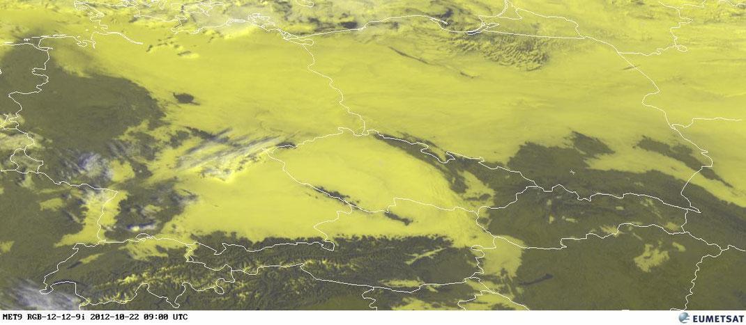 Bildquelle: EUMETSAT | Nebel und Hochnebel in Mitteleuropa.