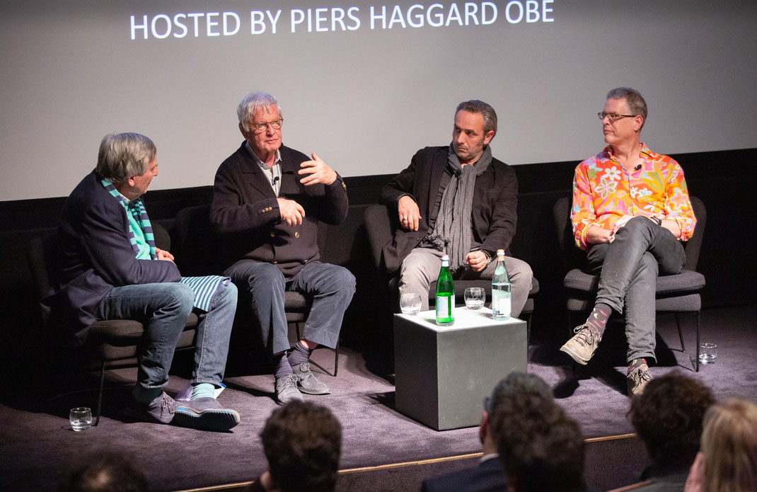 Joby Gee with Peter Medak (second from left) at a Q&A for The Ghost Of Peter Sellers