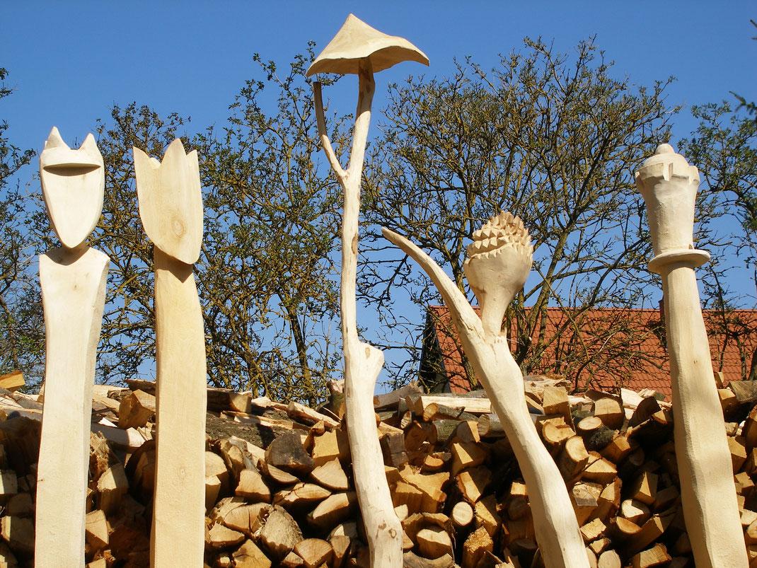 Zaunpfosten aus Eiche, Vielfarbenhaus, Spatzentraum, Holzberührungen