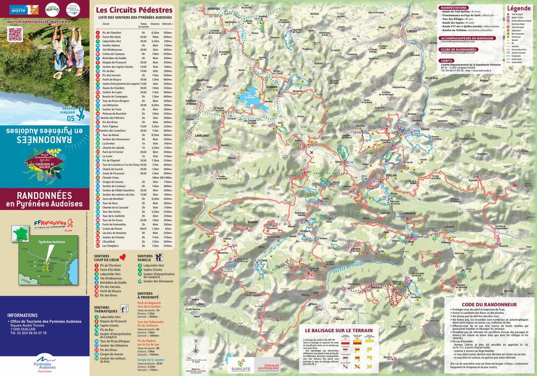 Carte des sentiers de randonnée des Pyrénées Audoises