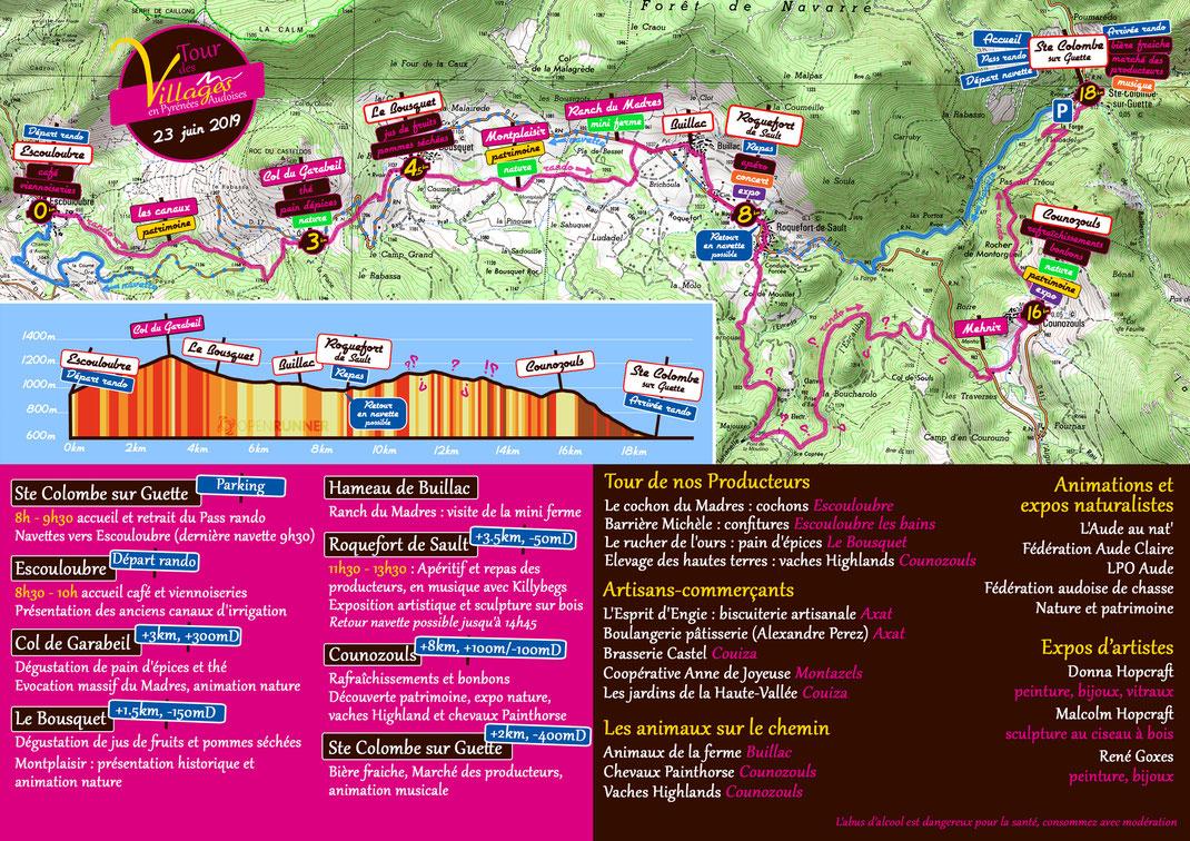Plan programme Tour des Villages en Pyrénées Audoises 2019
