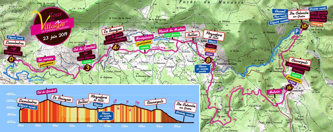 Plan Tour des Villages en Pyrénées Audoises 2019