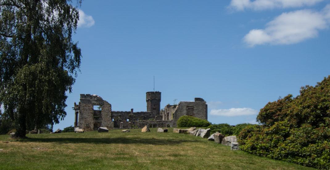 Die Burgruine auf dem Mont Cerisy bietet einen fantastischen Ausblick über die Bocage-Landschaften in der Normandie.