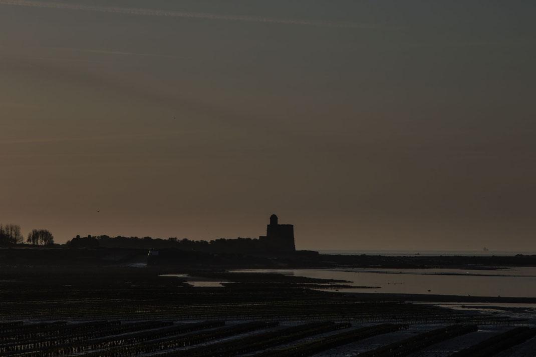 Blick von Saint-Vaast-La-Hogue auf die Insel Tatihou, Cotentin-Halbinsel, Normandie
