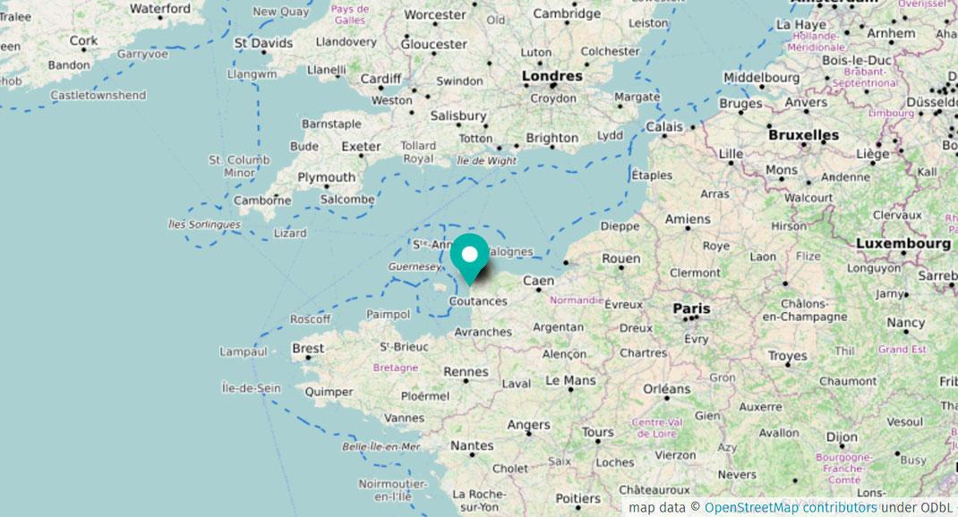 Karte mit einem Teil Europas und einem Marker in der Normandie.