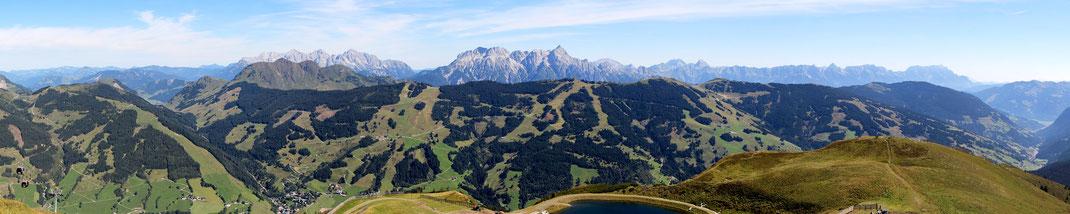 N-NO: Bernkogel - Buchensteinwand (hinten) - Lofer- und Leoganger Gebirge - Kohlmeis- & Pründelkopf (vorne) - Steinernes Meer