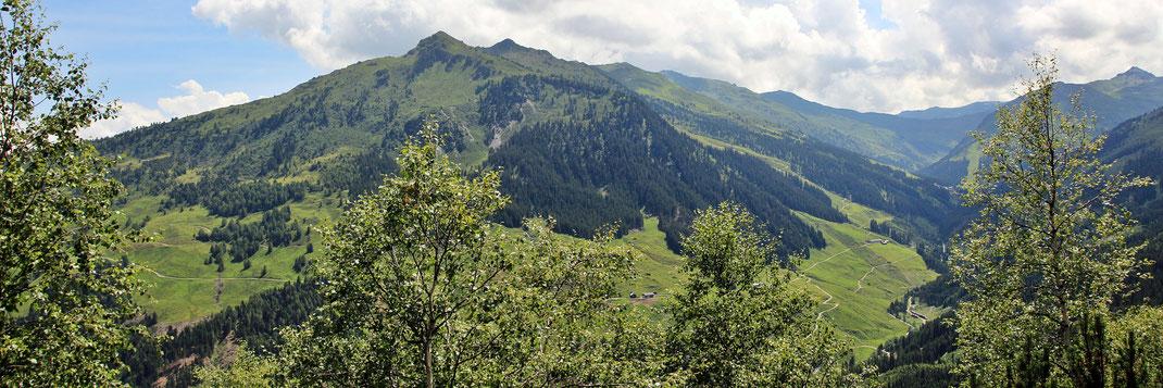 Blick auf die Wetterkreuzspitze, Marchkopf, Kraxentrager, Sidanjoch, Rosskopf