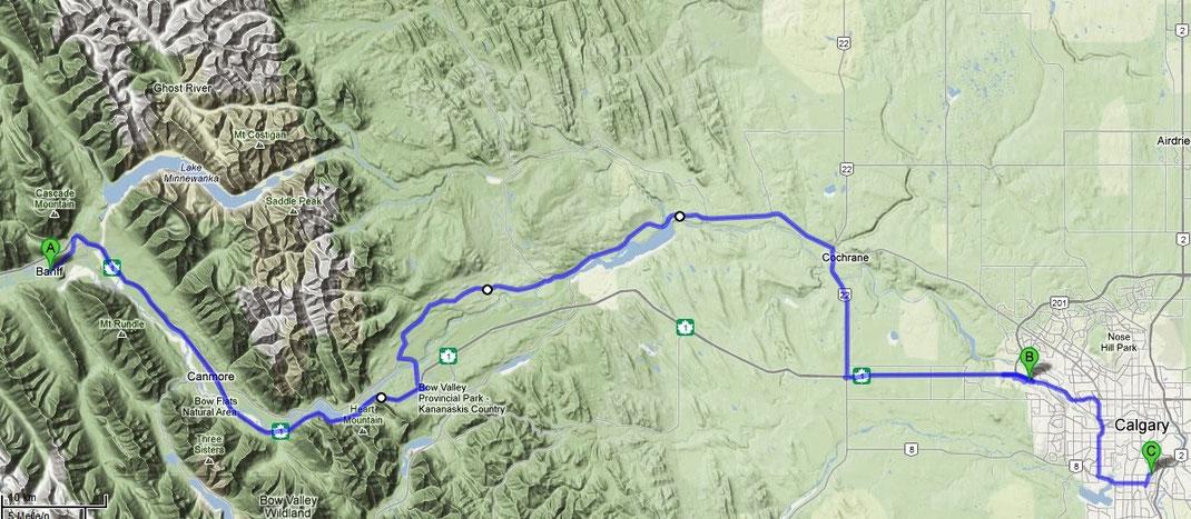 Die Fahrt von Banff nach Calgary mit dem Besuch des Olympic Centers