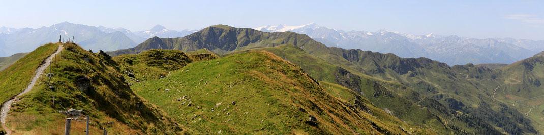 Blickrichtung Süd-West: Manlitzkogel, Grossvenediger Schneeeberge, Murnauer Scharte