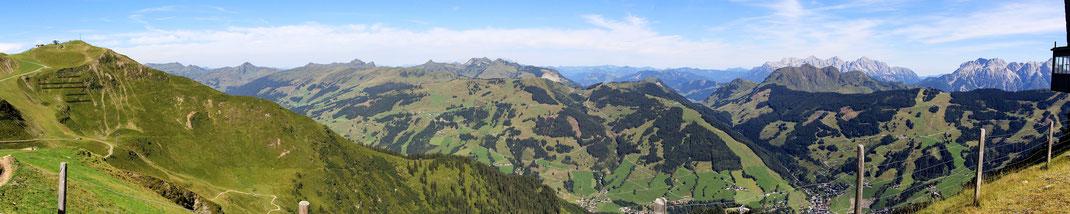 NW-N: Schattberg Westgipfel - Sonnenspitze - Wildseeloder (hinten) - Bernkogel - Lofer- und Leoganger Gebirge
