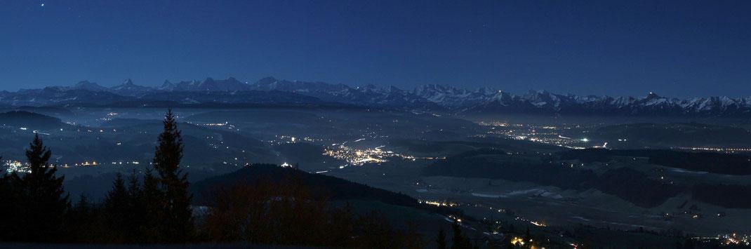 Vollmond-Alpenpanorama vom Bantigerturm - 05.Januar 2015