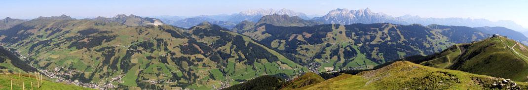 Aussicht auf das hintere Glemmertal - Hinterglemm - Wildseeloder - Fieberbrunn - Lofer- und Leoganger Gebirge