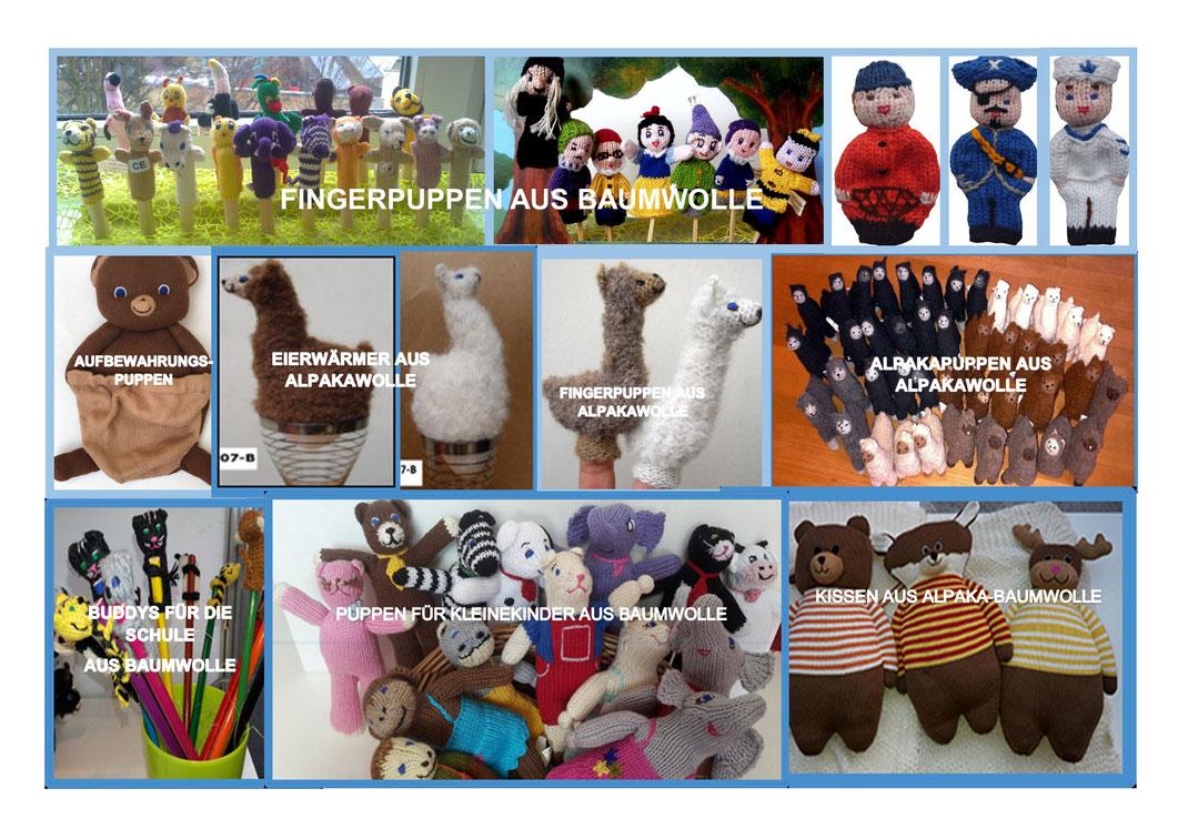 Einzeln handgestrickt und handbestickt aus Naturmaterialien: Alpakawolle, Baumwolle und Biobaumwolle