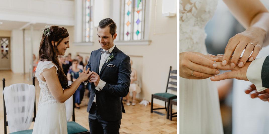 Ringtausch Trauung und Hochzeit in der St. Annen und Brigitten Kapelle im Standesamt Stralsund bei Rügen
